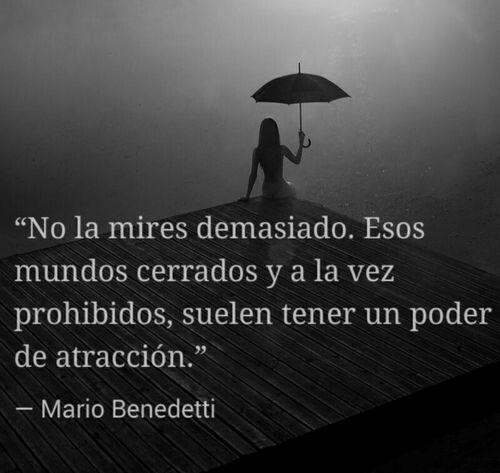 No la mires demasiado. Esos mundos cerrados y a la vez prohibidos, suelen tener un poder de atracción. Mario Benedetti