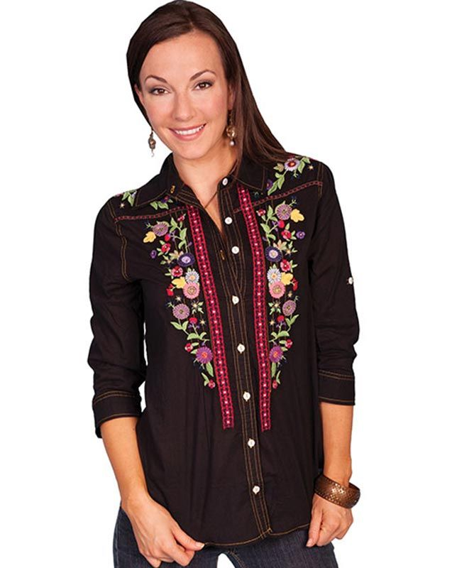 Scully Black Fashion Shirt with Floral Embroidery - Women's - #retro  #vintage style