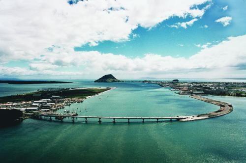 Tauranga harbour bridge, with Mauao in the background x