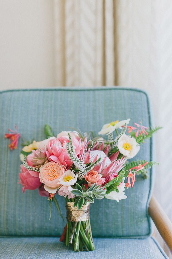 Mid-century modern Palm Springs wedding- love the protea!