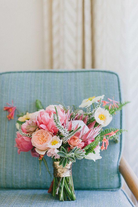 Mid-century modern Palm Springs wedding- love the protea!