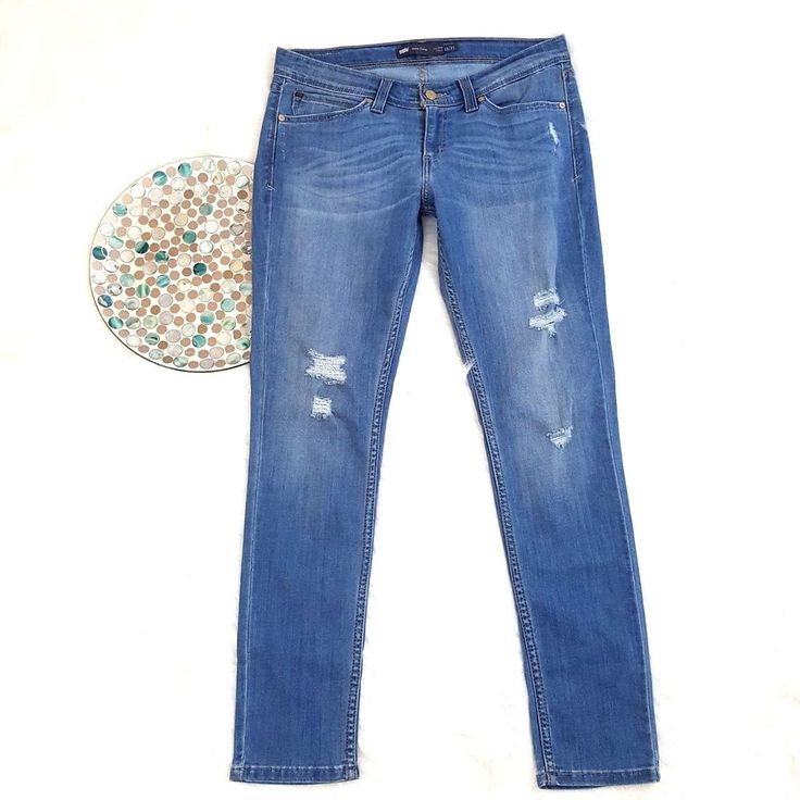 Levis Womens Jeans Size 13/31 Blue Distressed Demi Curve Low Rise Skinny Stretch #Levis #SlimSkinny