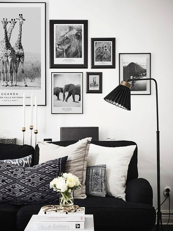 Scandinavian Gallery Wall Set Safari Black And White Photos Etsy Living Room Scandinavian White Living Room Decor Small Living Room Design