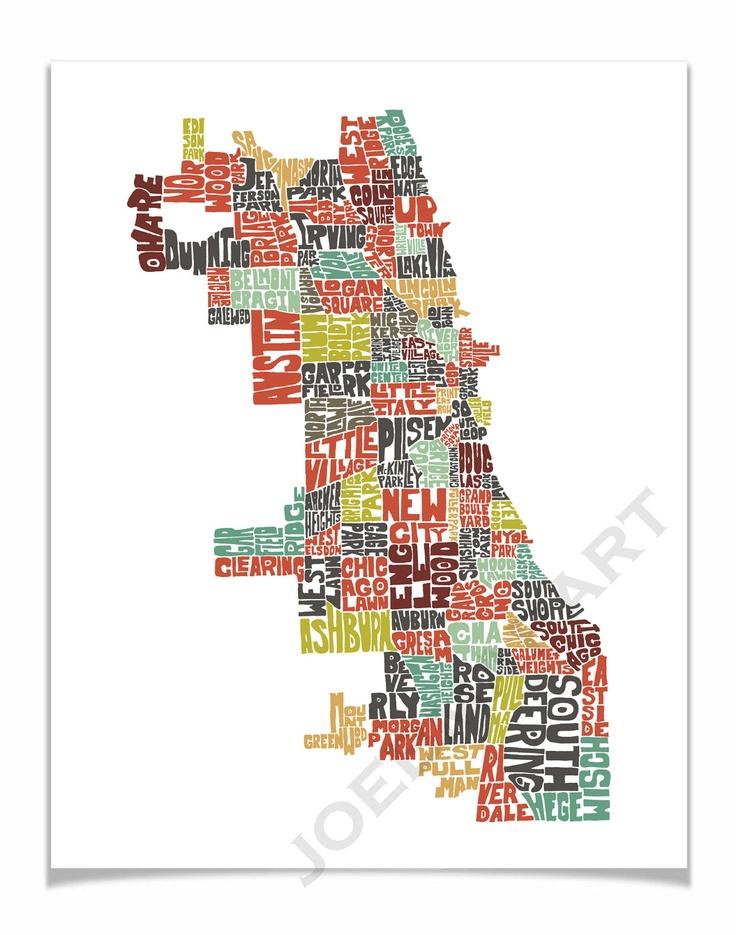 "Chicago - Neighborhood Typography Map Art Print 11x14"" - color version of my hand drawn map art wall decor. $20.00, via Etsy."