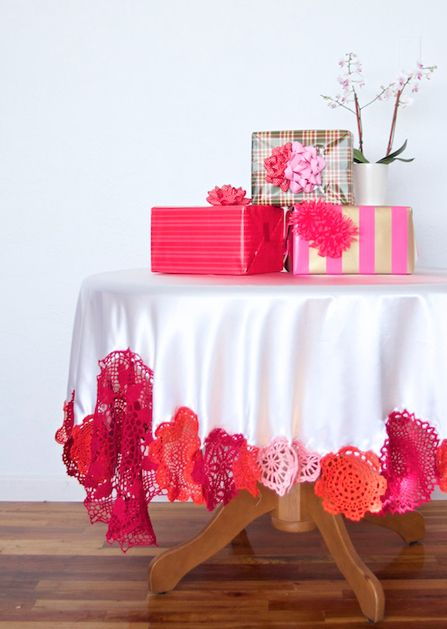 love this colorful crochet tablecloth