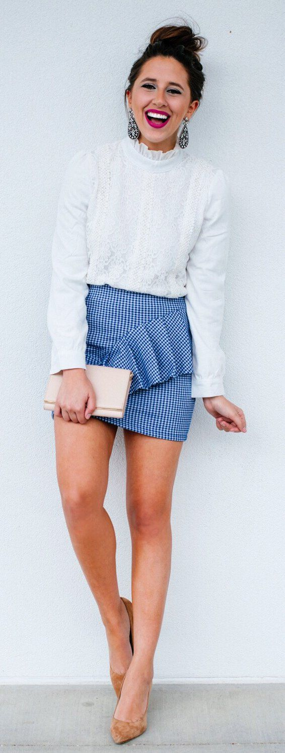 White Lace Top & Checked Skirt & Brown Pumps