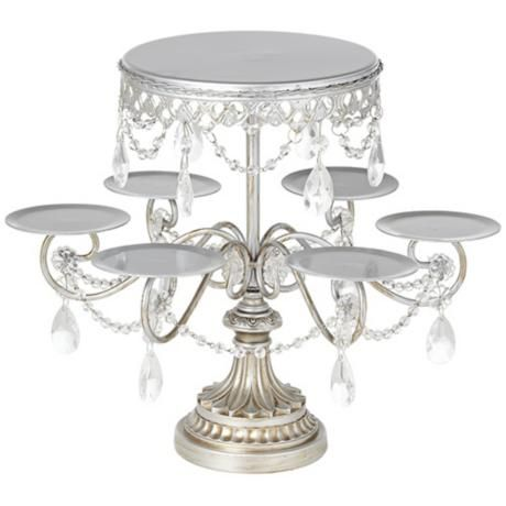 Antique Silver and Crystal Cake and Cupcake Stand $39.95