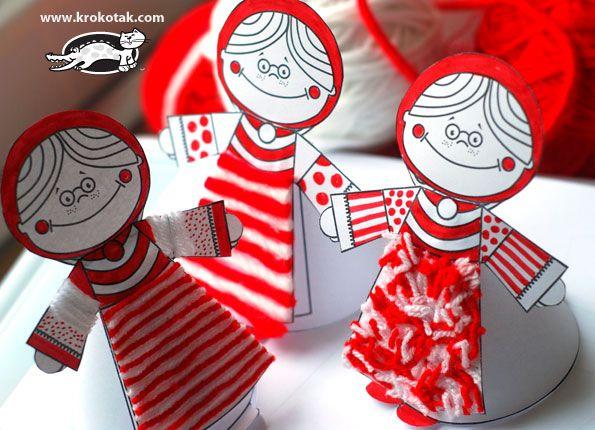 Czerwony i biały papier DOLLS