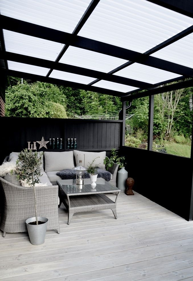 Covered patio with privacy find this pin and more on tendance la déco noire fait mouche