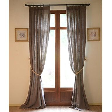 (Two Panels) Solid Pure Linen Classic Eco-friendly Curtain (Brown) – USD $ 169.99