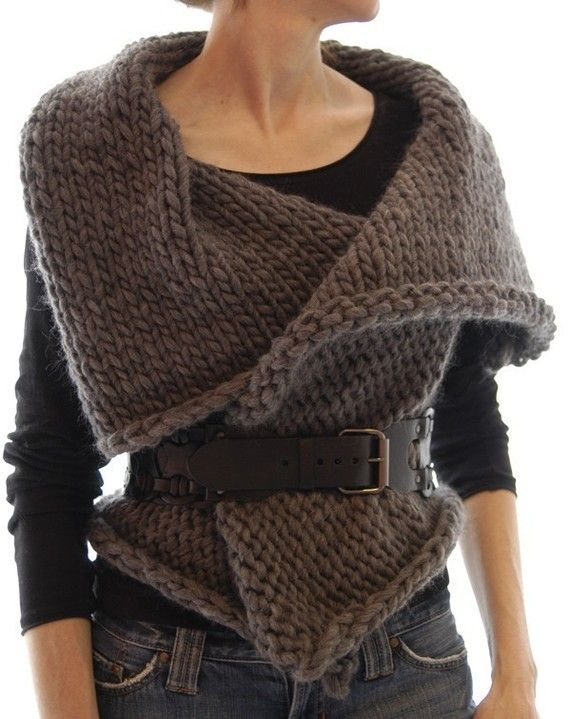 This is knitted, but I love the look. Should be able to come close w/crochet.  Magnum Reversible Vest/Wrap PDF Pattern by karenclements on Etsy, $6.50