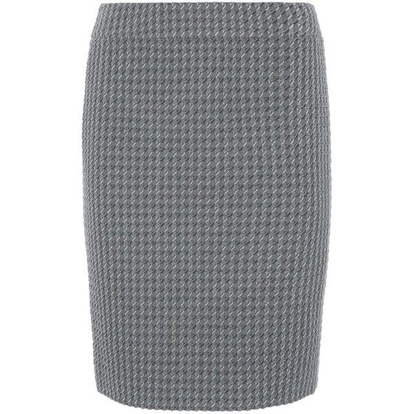 Armani Collezioni Textured Houndstooth Pencil Skirt ($415) ❤ liked on Polyvore featuring skirts, knee high skirts, kick pleat skirt, stretch skirt, stretch pencil skirt and stretchy pencil skirt