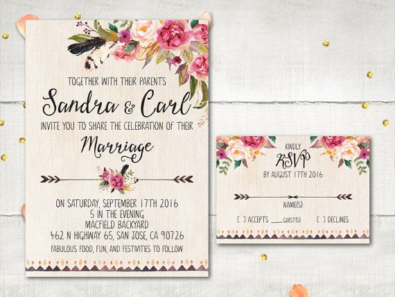 Best 25 bohemian invitation ideas on pinterest bohemian wedding wedding invitation and rsvp lucrece rustic boho flowers feathers invitation personalized card suite stopboris Gallery