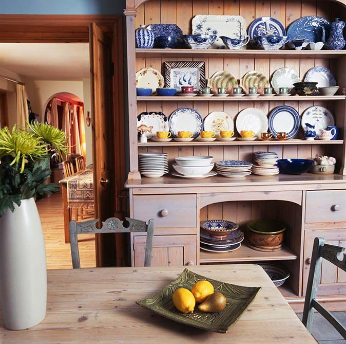 Kitchen Dresser Collection Of Blue Crockery On Lime Washed Pine In Country