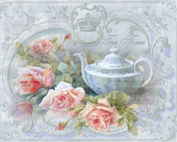 Victorian Tea Time Large digital download pink roses BUY 3 get one FREE ecs rdtt svfteam