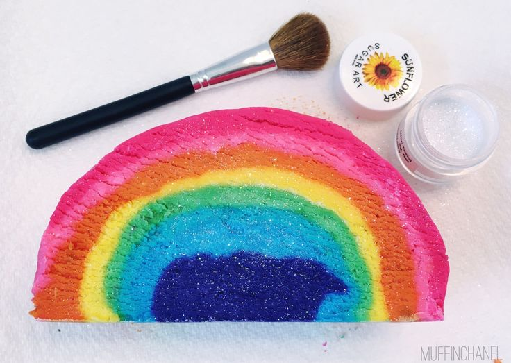 I need this bubble bar in my life #obsessed DIY Rainbow Bubble Bar recipe LUSH Inspired muffinchanel DIY bubble bars recipe. so cute. I love these. size comparison with LUSH bubble bars the comforter fluffy white clouds and blue sky karma bubble bar the unicorn horn brightside bubble bar make disco dust
