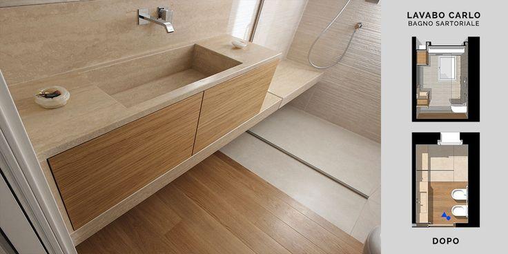 Il lavandino non è solo un lavandino, è una linea di travertino che da top, si fa vasca del lavabo, e si fa fascia di rivestimento del mobile lavandino e si prolunga fino a diventare seduta all'interno dell'area doccia.