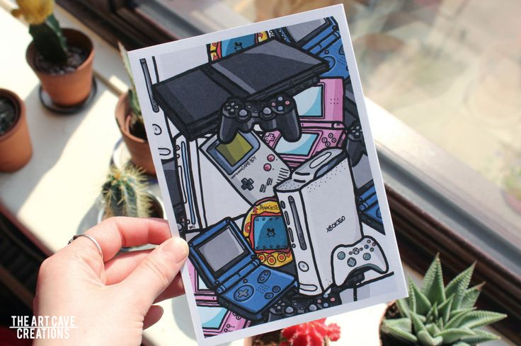 A5 Post Card // Cartoon Games Console Illustration // Colour Printed 300 GSM…