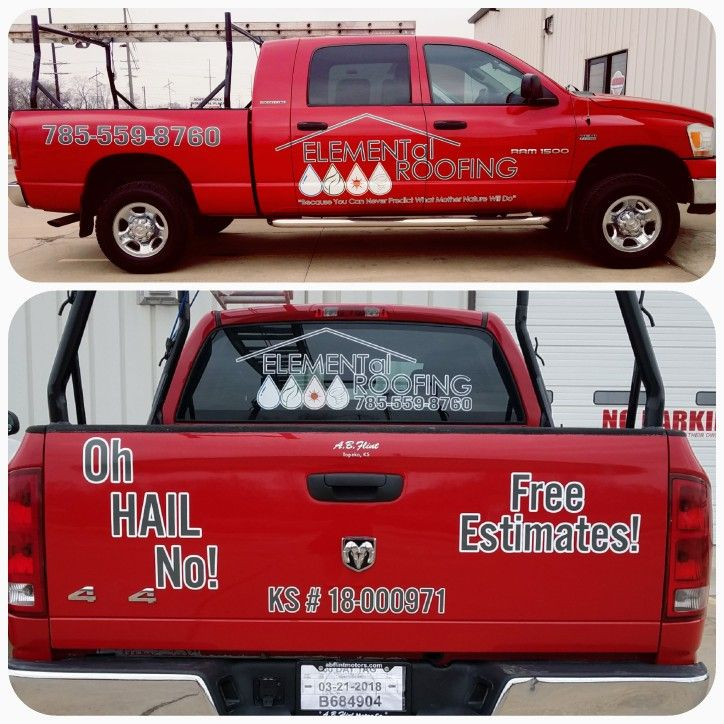 We Did These 3m Graphics For Elemental Roofing Knox Signs Graphics 5612 D Sw Topeka Blvd Topeka Ks 66609 Ph Monument Signs Channel Letters Led Signs