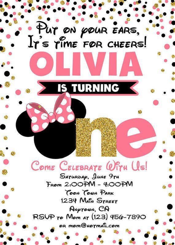 Minnie Mouse Invitations Minnie Mouse Birthday Invitation Minnie