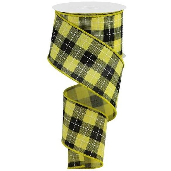 2 5 Woven Check Ribbon Yellow Black 10 Yards In 2020 Yellow Black Yellow Black
