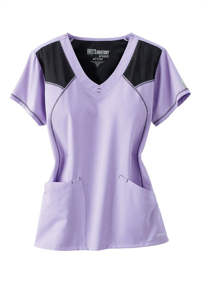 Greys Anatomy Active v-neck mesh trimmed scrub top. Main Image