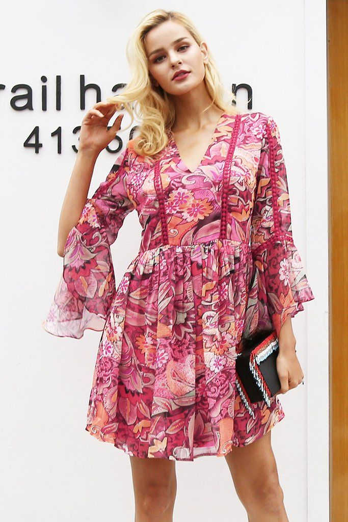 Buy Peony Print Dress at Bijou Blossoms for only $45.00 USD