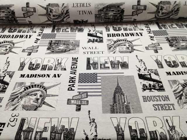 #NY #Streets  Tessuto arredamento in bianco e nero tema #NewYork 70% poliestere 30% #cotone