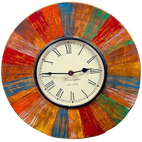 Purpledip Vintage Wall Clock in Reclaimed Wood Distress Finish 12X12 inch (clock81)    Refined and Reclaimed Wood Home Decor    Elevate the design of your home with some traditional, modern or rustic reclaimed wood home decor.  You will appreciate that you can find both reclaimed wood furniture and reclaimed wood wall art.  Couple these together for a charming look that combines the best of old world wood with today's modern and bright colors.