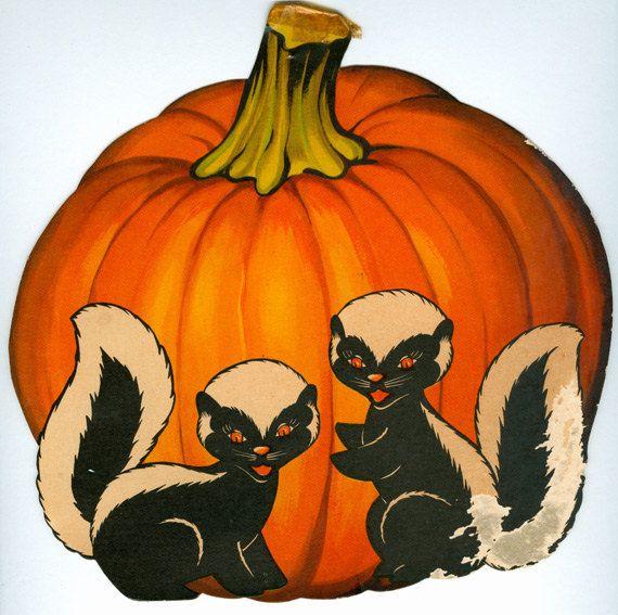 Vintage Halloween Skunk And Pumpkin Diecut Decoration