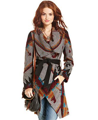 American Rag Sweater, Long Sleeve Tribal-Print Blanket Coat - Juniors American Rag Jackets - Macy's