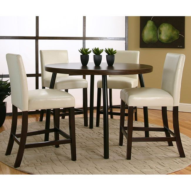 Kemper Round Counter Height Dinette With Ivory Chairs