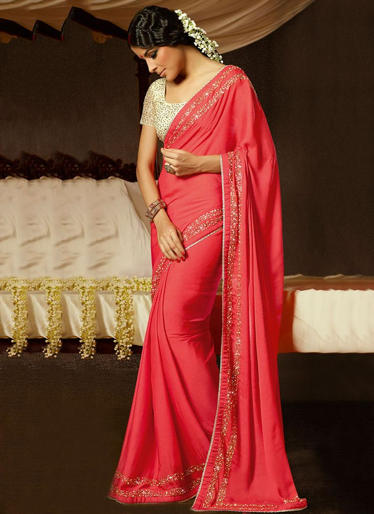 Admirable Red Georgette Saree