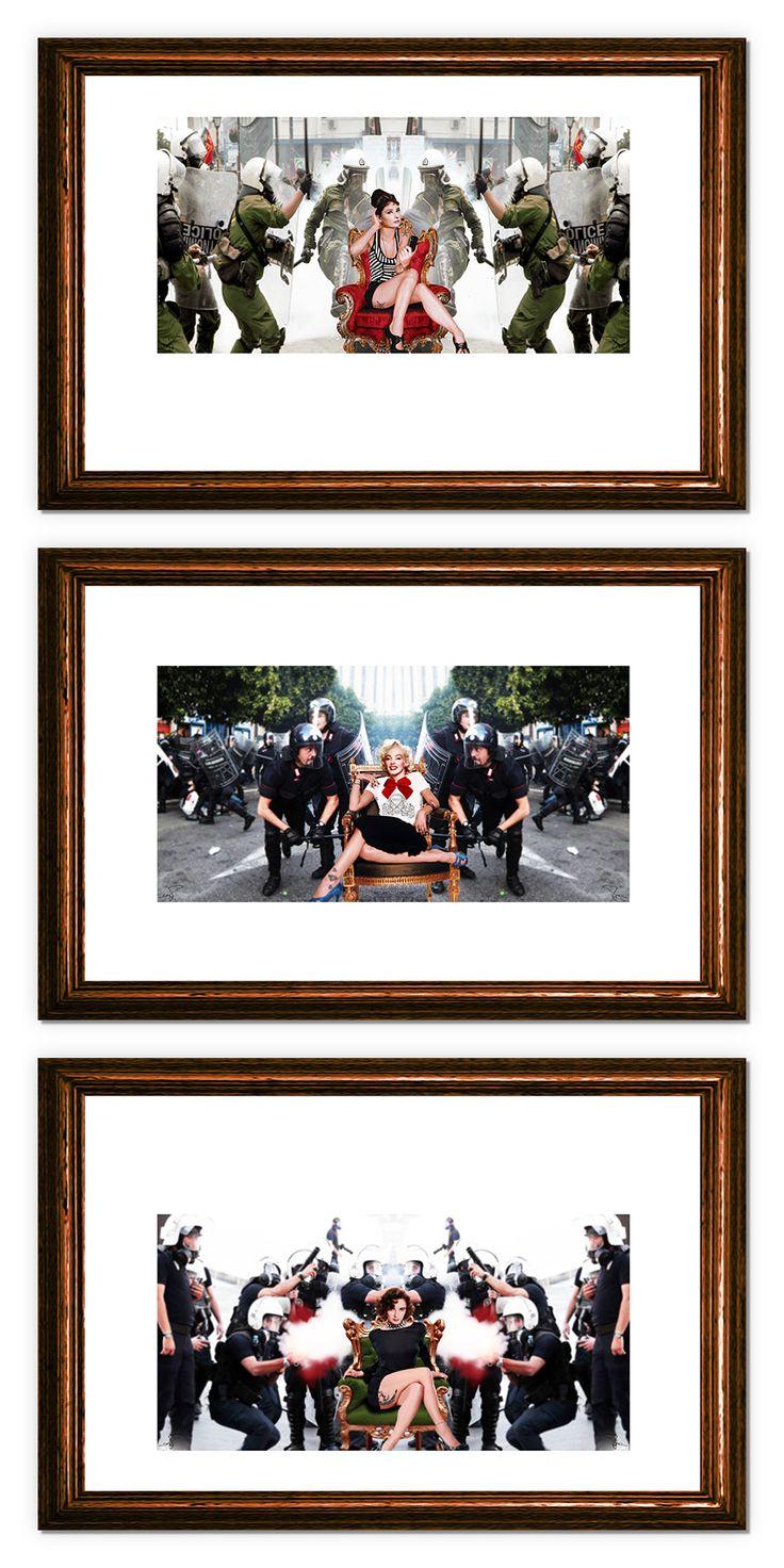 """Virna Brunetto """"Policon"""" (3 opere) Fotocomposizione digitale su forex 45 cm x 30 cm (singole) in esposizione fino al 12 marzo presso InsideMind - via Alba 53 - Cuneo"""