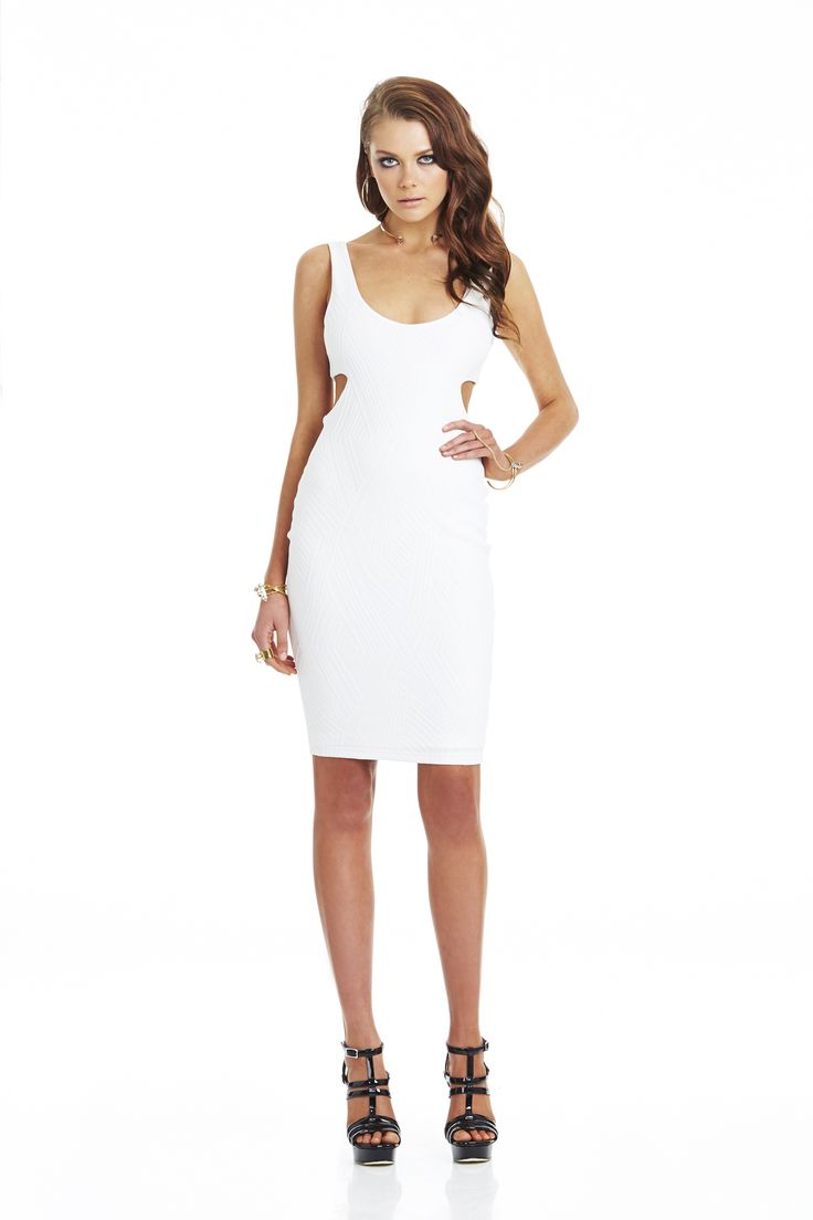 Uptown Girl Knit Cut Out Dress White #nookie