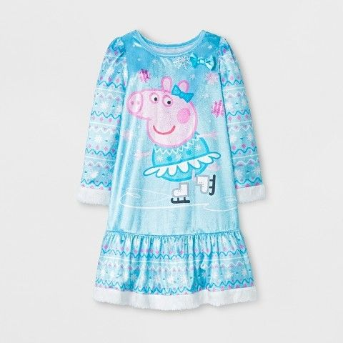 Peppa Pig Toddler Girls' Long Sleeve Nightgown - Turquoise
