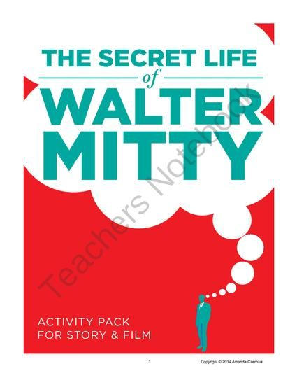 """The Secret Life of Walter Mitty"" Activity Pack from Open Classroom on TeachersNotebook.com -  (20 pages)  - Students take a peek into Mitty's ""secret life"" in this CCSS aligned set that includes general analysis questions, an armchair psychologist assignment, a text structure analysis activity, a story and film comparison assignment, and an essay"
