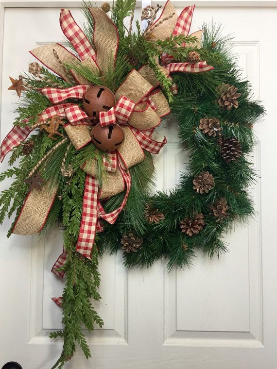 Country Wreath, Christmas, Burlap, Rustic, Pine Wreath | Christmas ...
