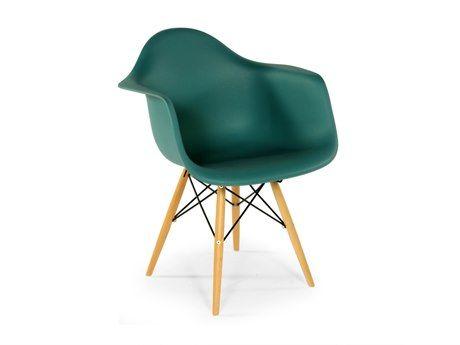 Stilnovo Mid Century Eiffel Green Accent Chair with Wooden Dowel Legs