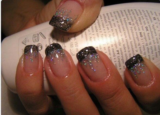 256 best glamorous nails images on pinterest beautiful women black french manicure with glitter pretty for new years eve i have my nails with a black french manicure right now glitter looks awesome prinsesfo Images