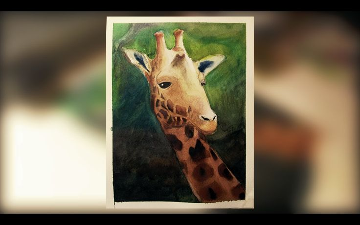 Girafa - Aquarela em Time Lapse (Piloto)  Vídeo em time lapse de pintura em aquarela  Giraffe - Time lapse video of watercolor paint