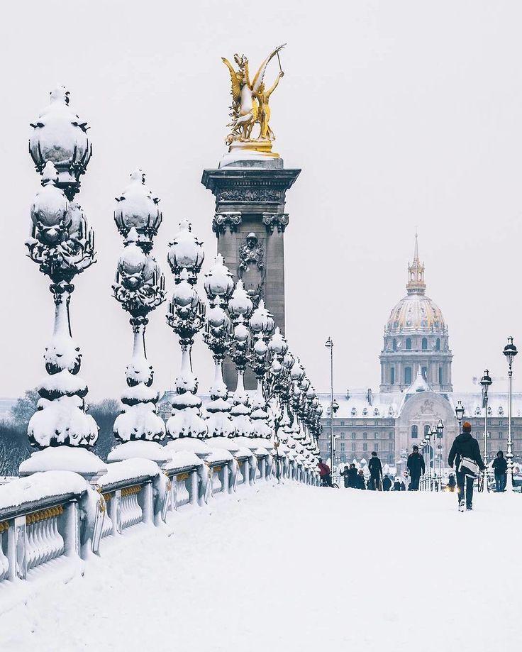 "Pont Alexandre III, Paris BEAUTIFUL DESTINATIONS (@beautifuldestinations) on Instagram: ""Exploring a winter wonderland in Paris #photooftheday (📷: @wonguy974)"""