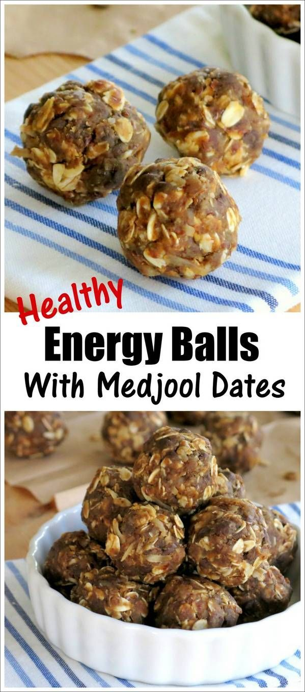 Healthy Energy Balls recipe sweetened with Medjool Dates. These no-bake, raw bites are packed with wholesome ingredients like oatmeal and sunflower seed butter.