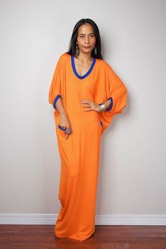 Orange Maxi Dress - Loose Fit 3/4 Sleeve Bright Orange dress : Autumn Thrills Collection No.14 (New Arrival)
