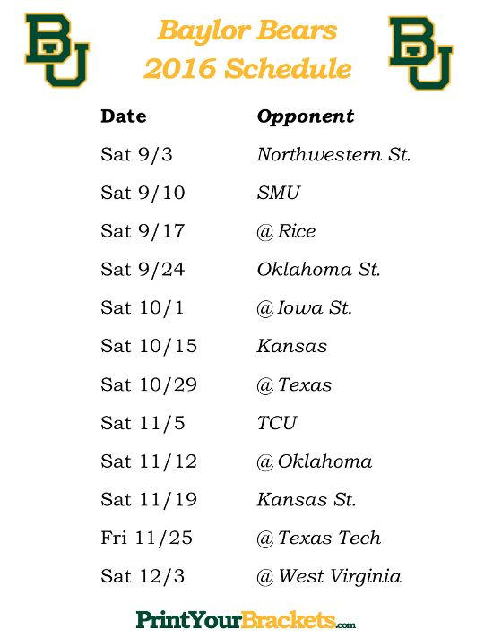 Printable Baylor Bears Football Schedule 2016