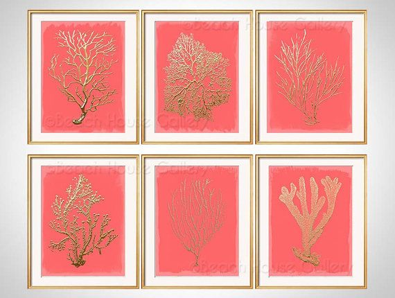 Gold Coral Print Set of 6 by BeachHouseGallery, $38.00