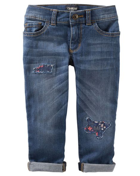 Built with a slouchy fit and match-back floral patches, this denim keeps her on trend.