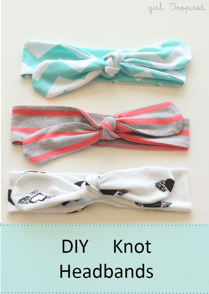 Tutorial for easy DIY knot headbands. Cute, simple look. I might want to make a couple of these for myself.  :)  There's also a quick tutorial near the bottom of the post about making one of these out of a non-stretchy fabric, sewing part of headband to be more elastic-like.