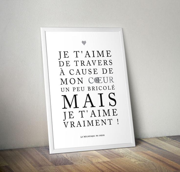 Affiche citation - la mécanique du coeur : Affiches, illustrations, posters par rgb