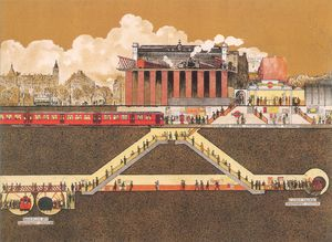 In 1914, the Underground Electric Railways Company of London advertised the opening of the Charing Cross, Euston and Hampstead Railway extension to Embankment tube station. This detail from the poster shows a cross-section of the land under Charing Cross railway station including the new tube line and other tube lines already serving the station.